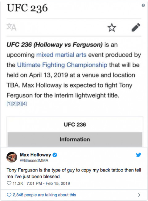 What about Max Holloway vs. Tony Ferguson for interim lightweight title?
