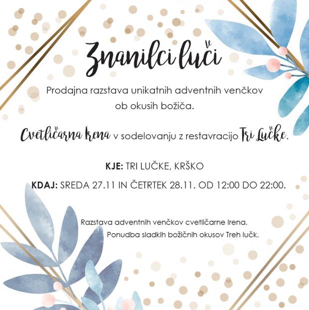 Prodajna razstava unikatnih adventnih venčkov